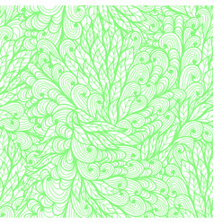 Seamless floral monochrome green doodle pattern vector