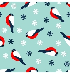 Seamless pattern decoration of red bullfinch bird vector image