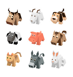 set of different cartoon isometric animals vector image vector image