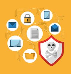 Set of spectre and meltdown cyber crime virus vector