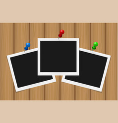 Set of square frames on pins with shadows on vector