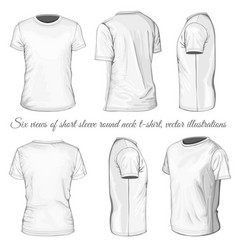 six views of white t-shirt vector image vector image