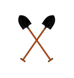 Two crossed garden spadefuls with wooden handle vector