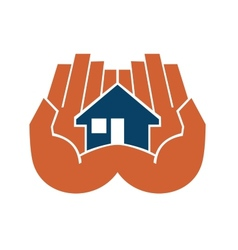Two hands cupping a house vector image vector image