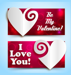 Valentines day amour horizontal banners vector
