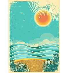 Vintage nature tropical seascape background with vector image vector image