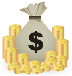 Stacks Of Gold Coins And Money Bag On White vector image