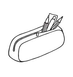 Pencil case icon Outlined vector image
