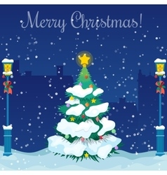 Merry christmas cityscape with christmas tree vector