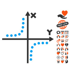 Hyperbola plot icon with lovely bonus vector