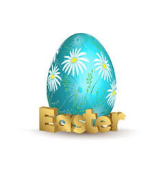 easter egg icon egg with hand draw daizy vector image