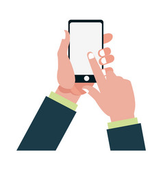 Hand finger touch display smartphone vector