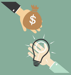 Hand of businessman to change the bulb idea to vector