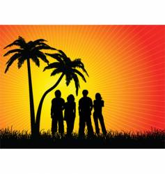 Friends under palm trees vector
