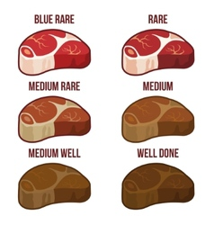 Degrees of steak doneness icons set vector