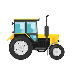 Yellow tractor isolated on white vector