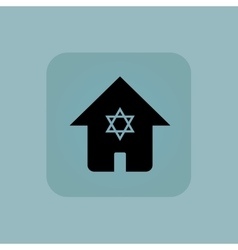 Pale blue jewish house icon vector