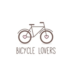 Outline cute bicycle logo bicycle store vector