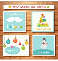 Christmas cards collection with cute buttons vector