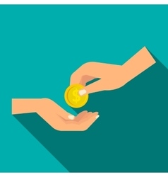 Hands holding coins icon flat style vector
