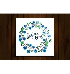 lettering Hello Paris frame watercolor flowers vector image