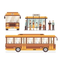 City bus stop flat icons vector