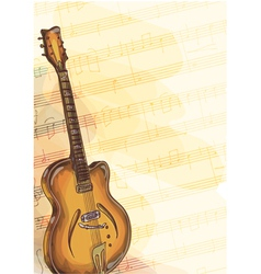 Bass Guitar on music background vector image vector image