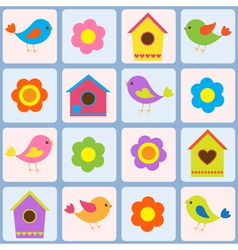 Birds flowers and birdhouses vector