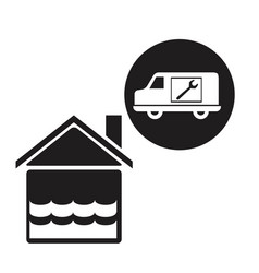 Black silhouette flooded house icon with circular vector