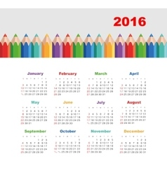 Calendar 2016 with a pencil Week Starts Sunday vector image vector image