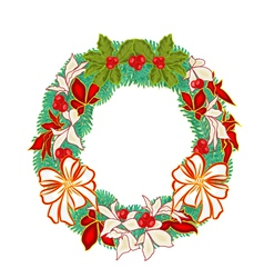 Christmas Wreath with white bows and poinsettia ve vector image vector image