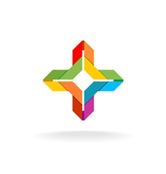 Colorful ribbon origami cross symbol vector image