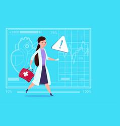 Emergency female doctor run with medicine box vector