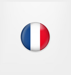flag of france round icon badge or button french vector image vector image