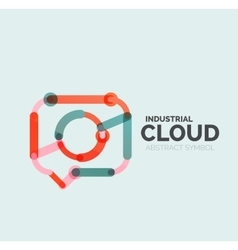 Flat linear design speech cloud logo Talk bubble vector image