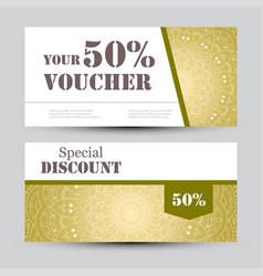 Gift voucher template with mandala design vector