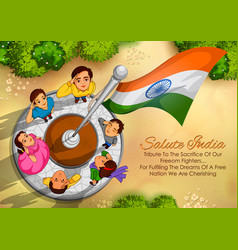 Indian people saluting flag of india with pride vector