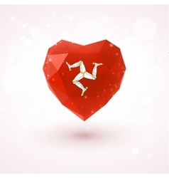 Isle of Man flag in shape diamond glass heart vector image