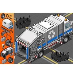 Isometric White Garbage Truck in Rear View vector image vector image