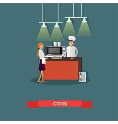 Kitchen interior in restaurant poster vector