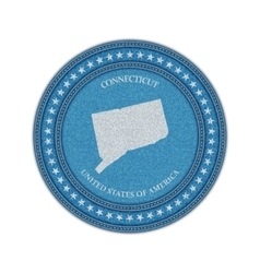Label with map of connecticut Denim style vector image vector image