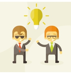 Lamp of idea concept businessman partners vector
