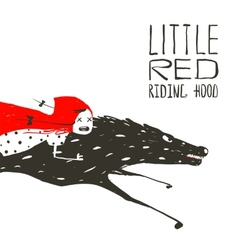 Little red riding hood on black wolf running vector