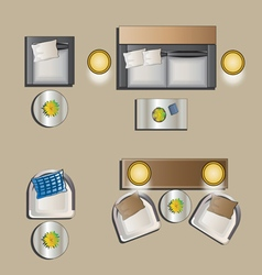 Living room furniture top view set 4 vector image