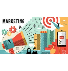 Marketing online concept design modern business vector image