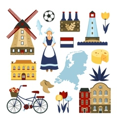 Netherlands symbols set vector
