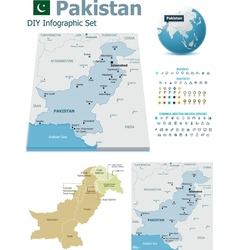 Pakistan maps with markers vector image vector image
