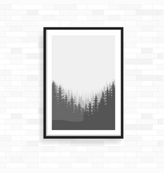 Realistic frame on light grunge brick wall vector