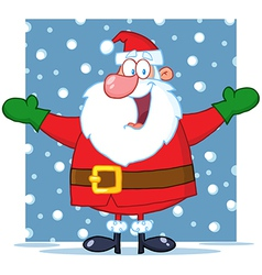Santa Claus With Open Arms In The Snow vector image vector image