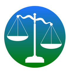 Scales of justice sign white icon in vector